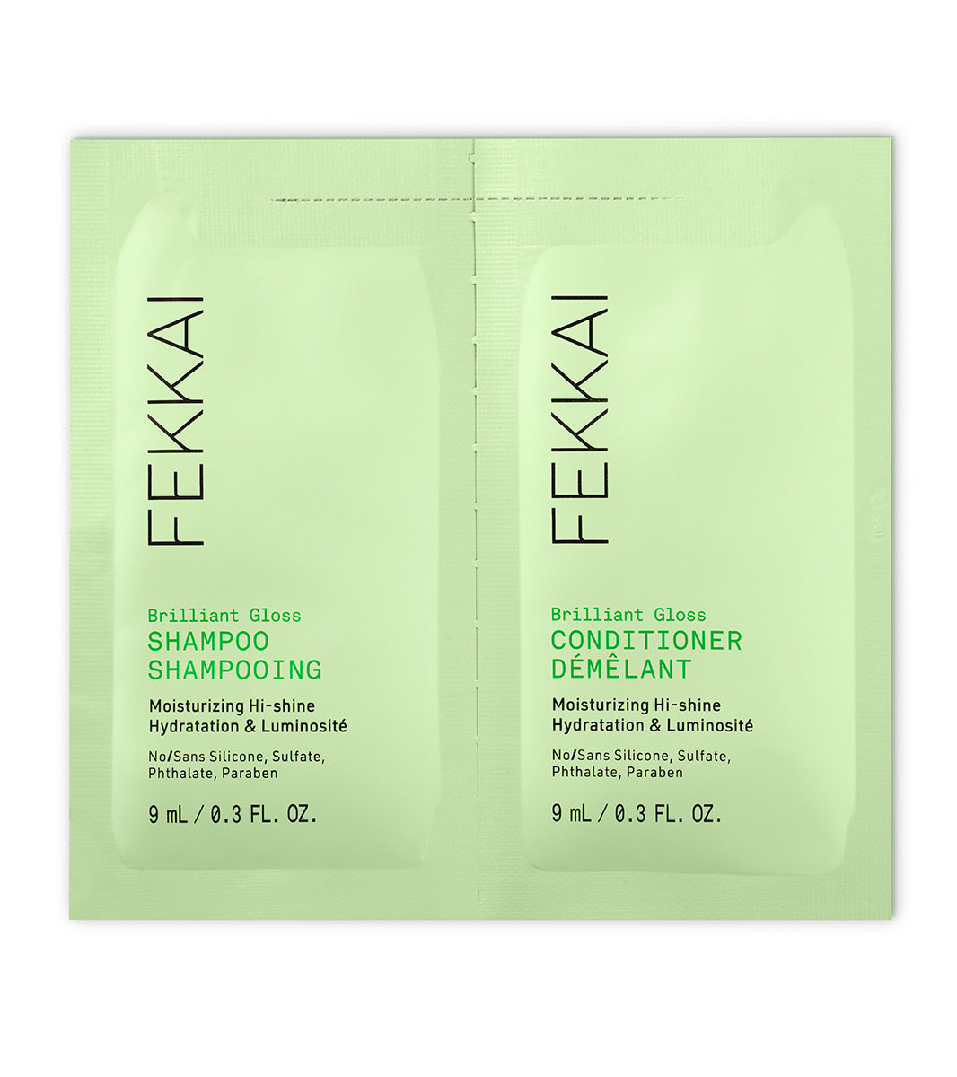 green fekkai brilliant gloss shampoo and conditioner sample packet front