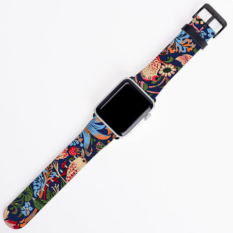 William Morris Floral Apple Watch Band Strawberry Thief iWatch Strap
