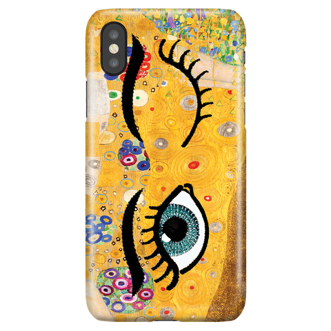 Funny Unique Phone Case iPhone X/XS, Gustav Klimt - Kiss & Wink