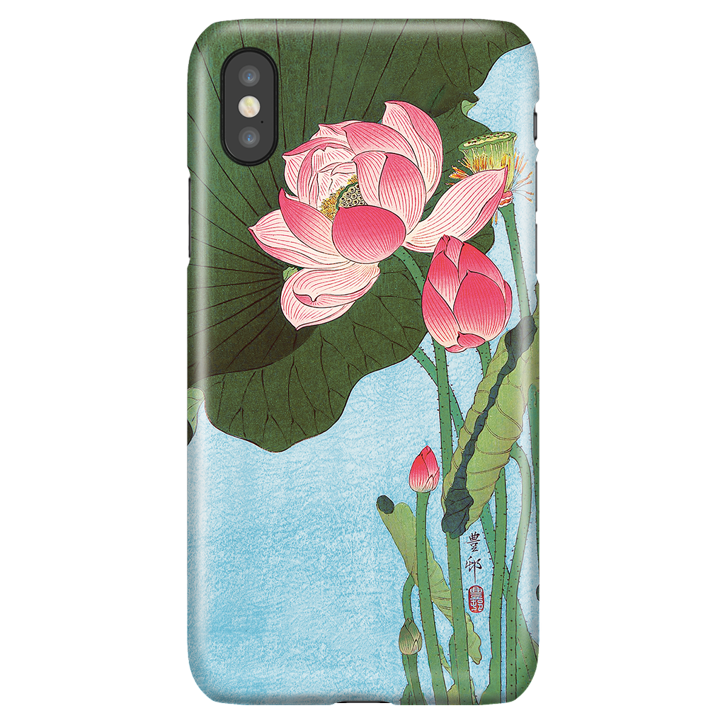 Flowering Lotus - Beautiful Japanese Art Phone Case for iPhone X/XS
