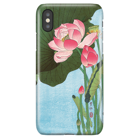 Floral iPhone XS X Case - Lotus Japan Ohara Koson Ukiyo-e