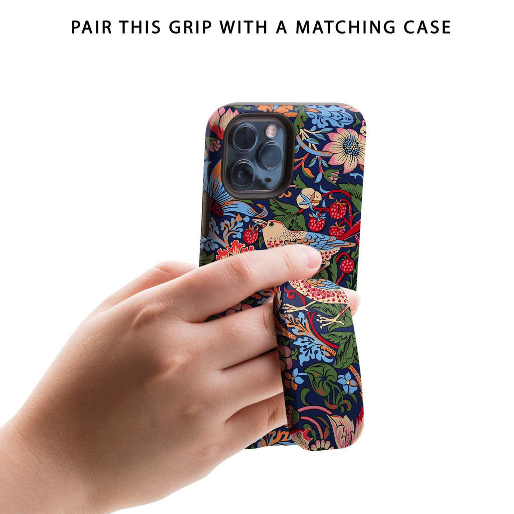 William Morris Strawberry Thief Phone Grip & Stand - for Apple iPhone, Samsung Galaxy, Google Pixel etc Floral Kickstand Popup Holder Socket