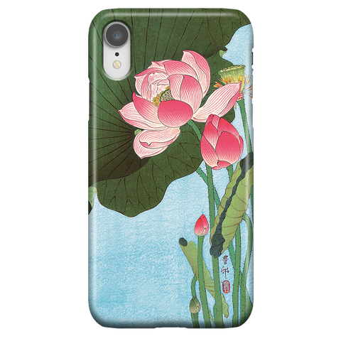 Cute Floral iPhone XR Case - Lotus Japan Ohara Koson Ukiyo-e - Phone Case