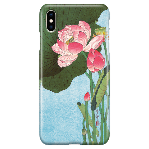Cute Floral iPhone XS Max Case - Lotus Japan Ohara Koson Ukiyo-e - Phone Case