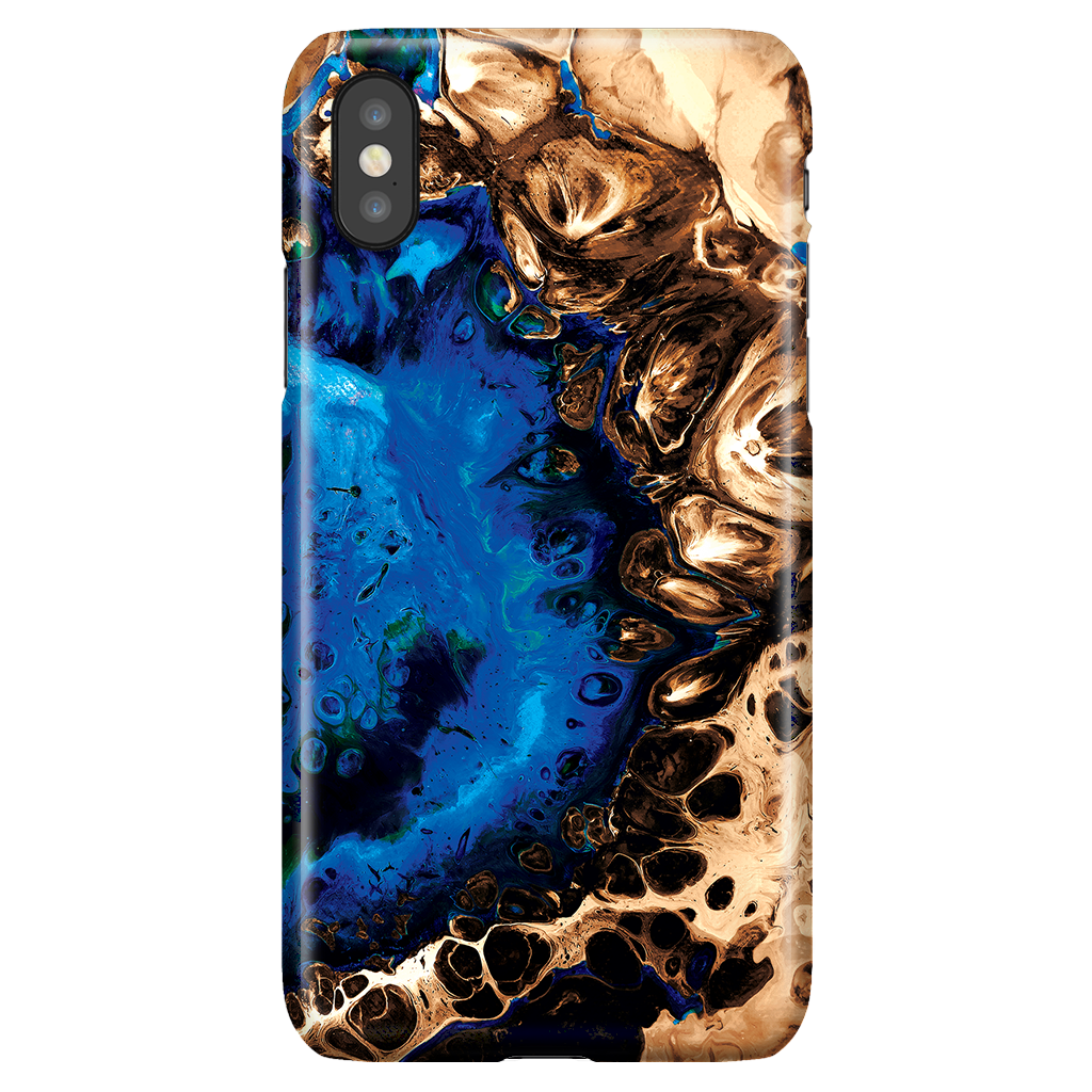 Cute Fluid Art Marble Phone Case for iPhone X/XS - Ocean Blue