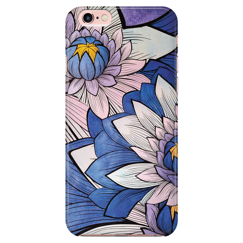 Floral Phone Case for iPhone and Samsung Galaxy - Blue Lotus Flowers