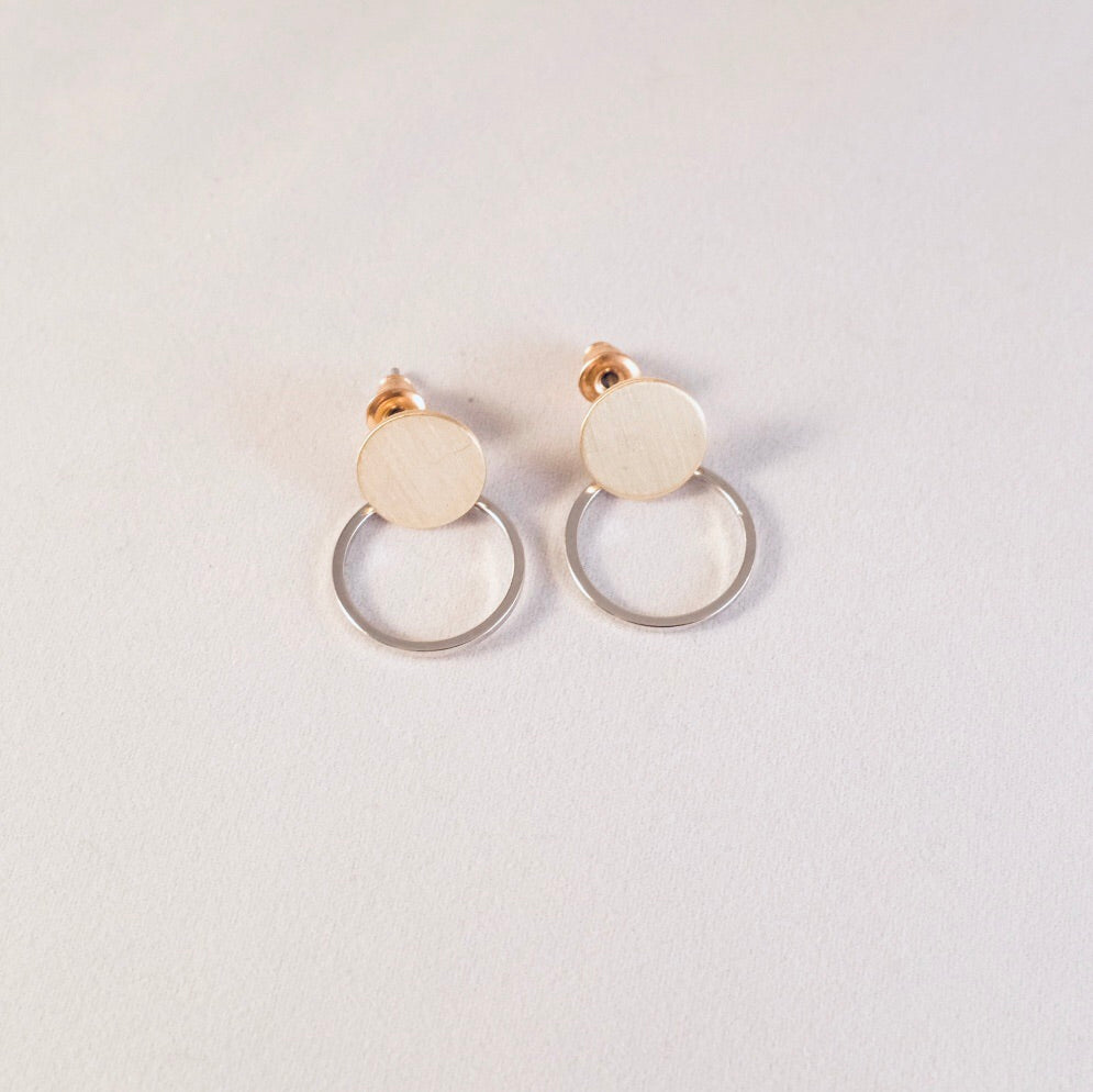 Gold & Silver Anouk Tiny Hoop Stud Earrings