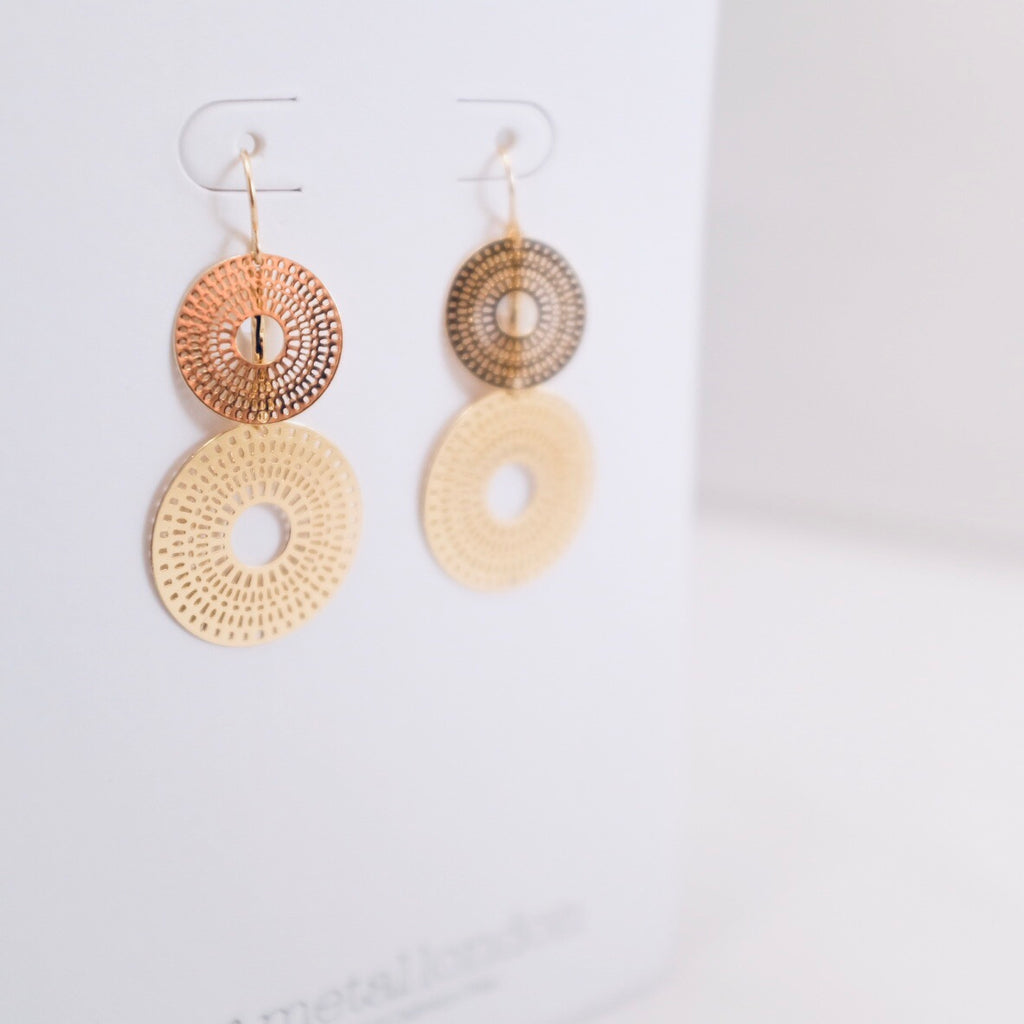Gold Double Sun Disc Earrings
