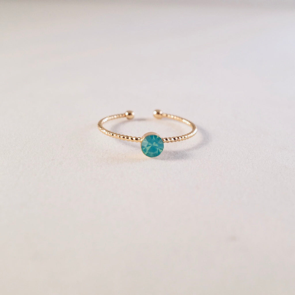 Gold Green Opal Adjustable Ring