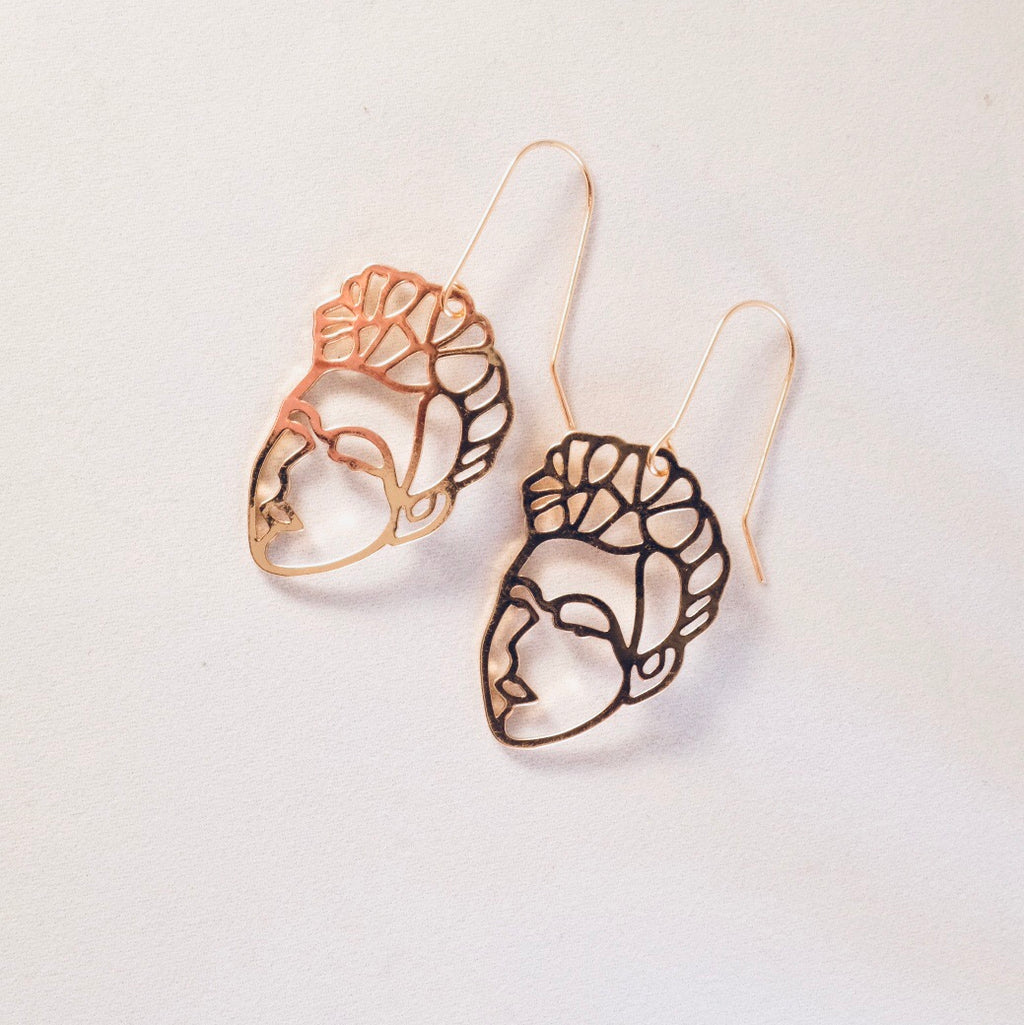 Gold Frida Face Earrings