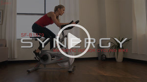 woman on Synergy indoor cycle bike