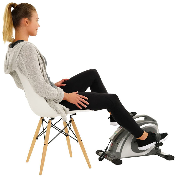 Motorized Mini Exercise Bike w/ 90 RPMs - Electric Surface Cycle - Sunny Health and Fitness