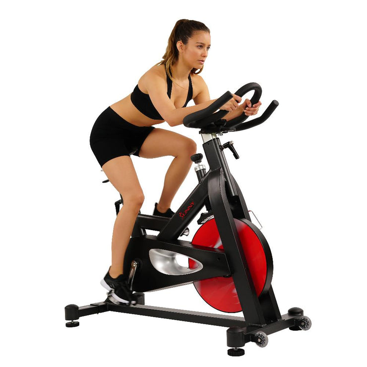 Evolution Pro Magnetic Belt Drive Indoor Cycling Bike, High Weight Capacity, Heavy Duty Flywheel - Sunny Health and Fitness
