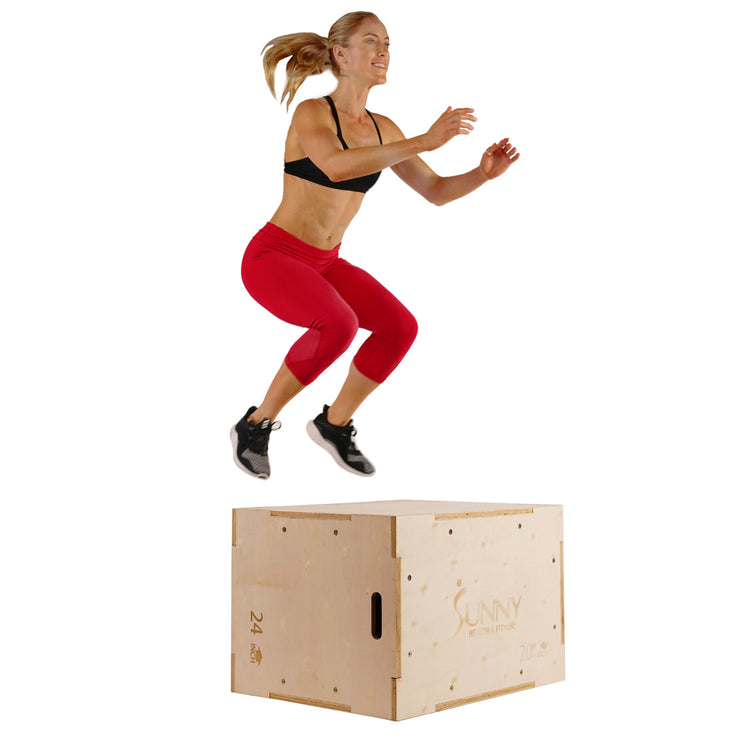 "Wood Plyo Box w/ Removable Cover, 500lb Weight Capacity & 3 in 1 Height Adjustment - 30""/24""/20"""