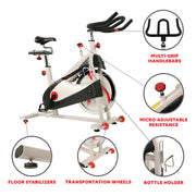 Clipless Pedal Premium Indoor Cycling Exercise Bike with Belt Drive