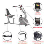 Cross Trainer Magnetic Recumbent Bike with Arm Exercisers