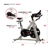 Belt Drive Indoor Cycling Bike, High Weight Capacity w/ Cadence Sensor and Pulse Rate Monitor