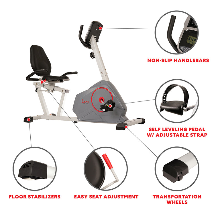 Magnetic Recumbent Exercise Bike with Silent Belt Drive, Performance Monitor, BMI Calculator