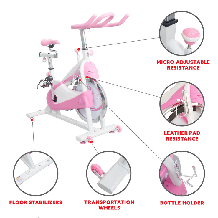 Pink Belt Drive Premium Indoor Cycling Trainer Exercise Bike