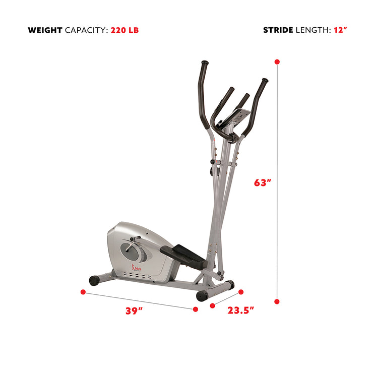 Magnetic Elliptical Bike Elliptical Machine w/ Device Holder, LCD Monitor and Heart Rate Monitoring