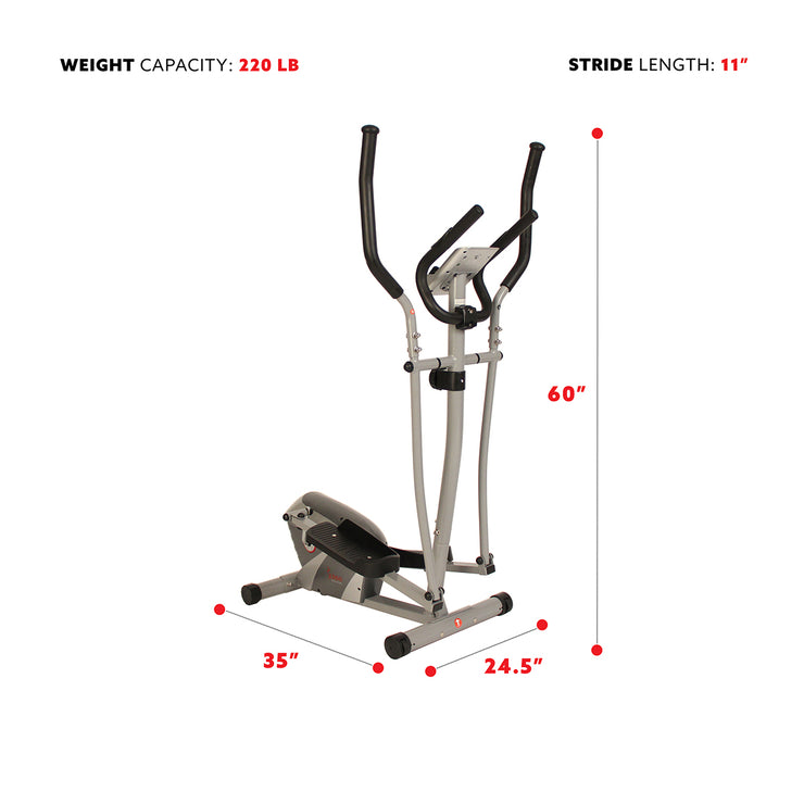 Magnetic Elliptical Machine w/ Device Holder, LCD Monitor and Heart Rate Monitoring