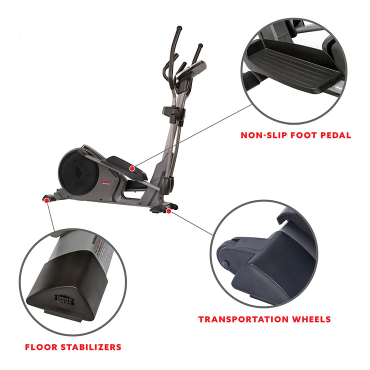 Magnetic Elliptical Machine w/ Device Holder, Programmable Monitor and Heart Rate Monitoring