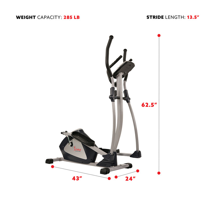 Magnetic Elliptical Machine w/ Device Holder, LCD Monitor and Heart Rate Monitoring - Endurance Zone