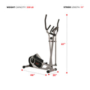 Magnetic Elliptical Machine w/ Device Holder, LCD Monitor and Heart Rate Monitoring - Ozone