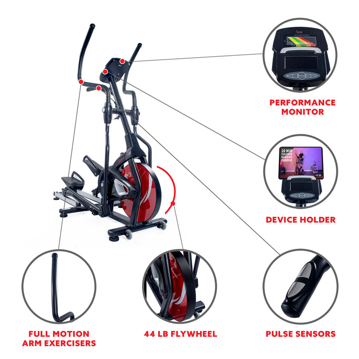 Magnetic Elliptical Machine w/ Tablet Holder, LCD Monitor and Heart Rate Monitoring - Stride Zone