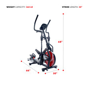 Magnetic Elliptical Machine w/ Device Holder, LCD Monitor and Heart Rate Monitoring - Stride Zone