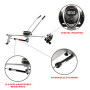 Full Motion Rowing Machine Rower w/ 350 lb Weight Capacity and LCD Monitor