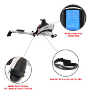 Commercial Folding Rowing Machine Rower w/ Heart Rate Monitor