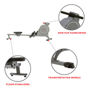 Magnetic Rowing Machine Rower, 5.5 lb Flywheel and LCD Monitor w/ Device Holder