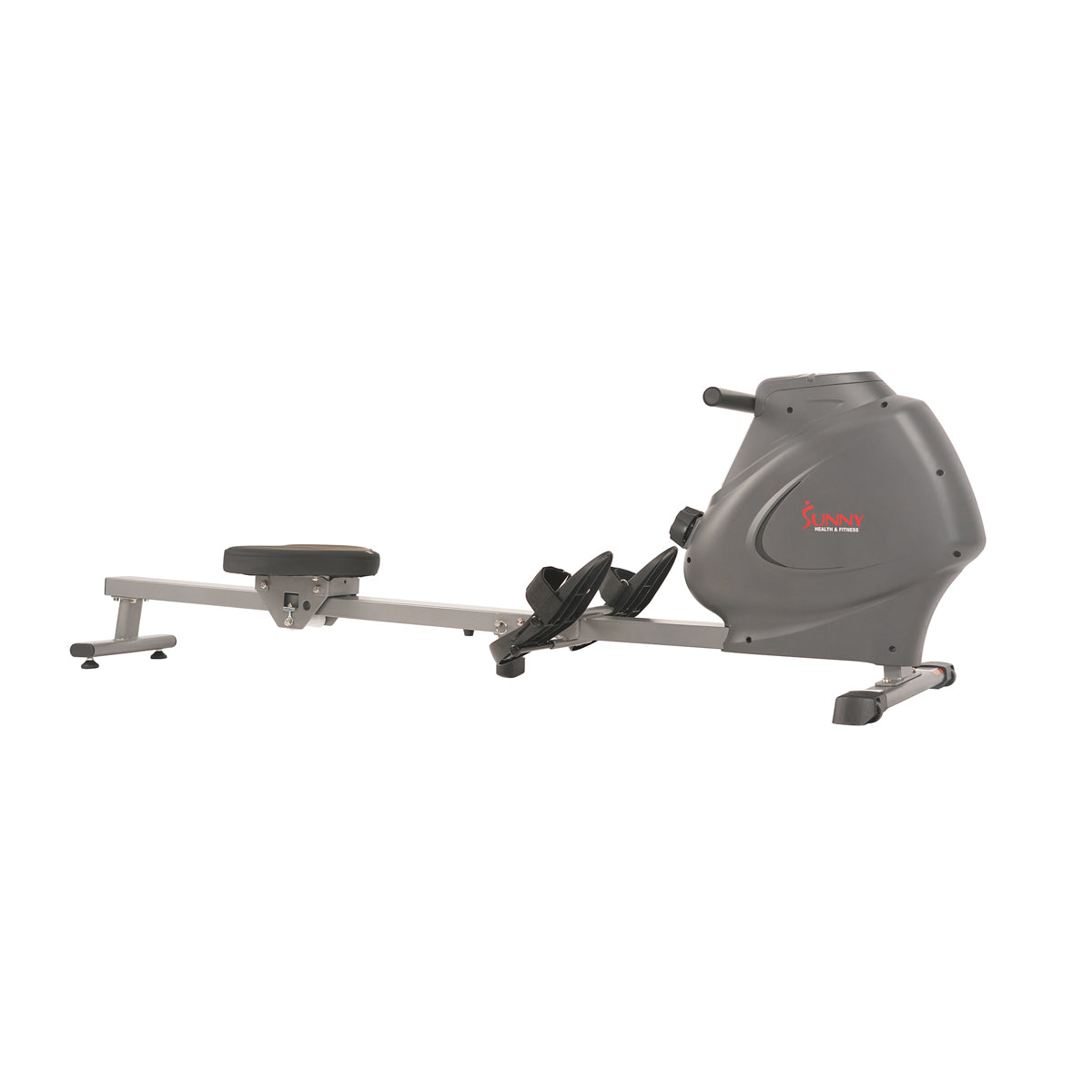 Sunny Health & Fitness Magnetic Rowing Machine Rower, LCD Monitor with Bottle Holder - Synergy Power Motion