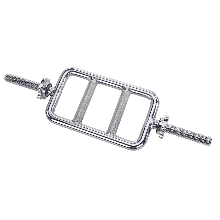 24 in Threaded Solid Chrome Tricep Bar w/ Ring Collars