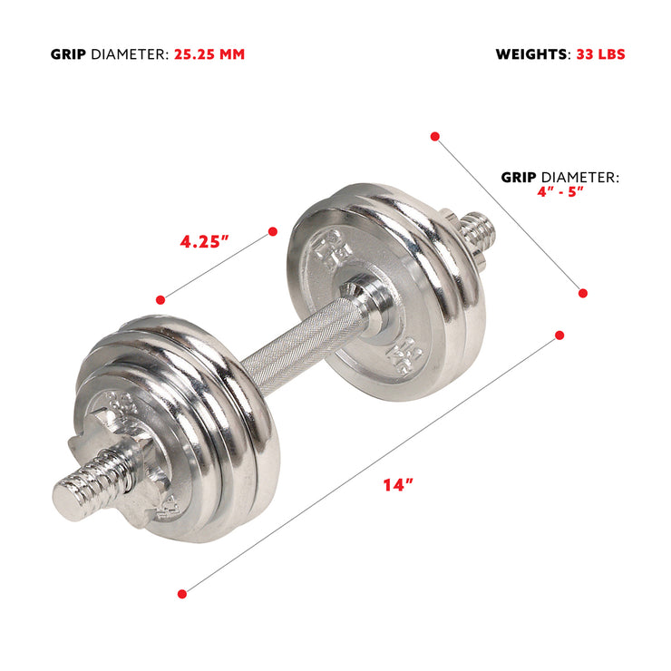 33Lbs Dumbbell Chrome Set