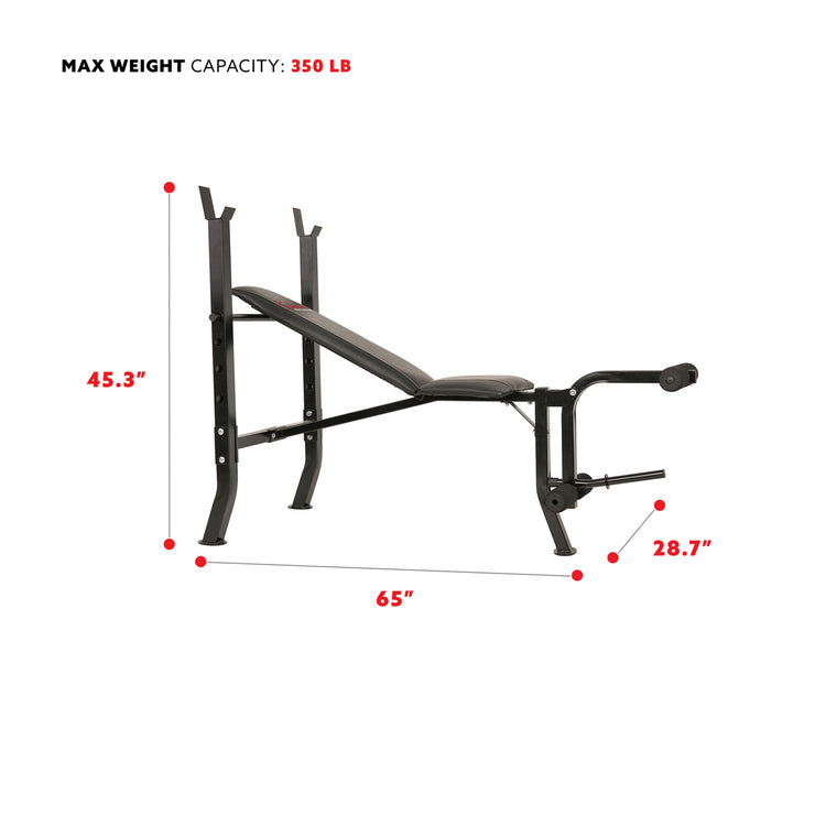 Adjustable Weight Bench w/ Decline, Flat and Incline Training Positions and Leg Developer
