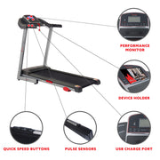 Electric Treadmill w/ Manual Incline and USB Charging Function