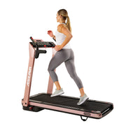 SpaceFlex Running Treadmill w/ Auto Incline, Foldable Wide Deck - Pink