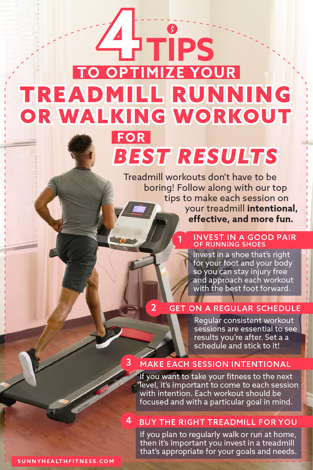 4 Tips to Optimize Your Treadmill Running or Walking Workout Infographic