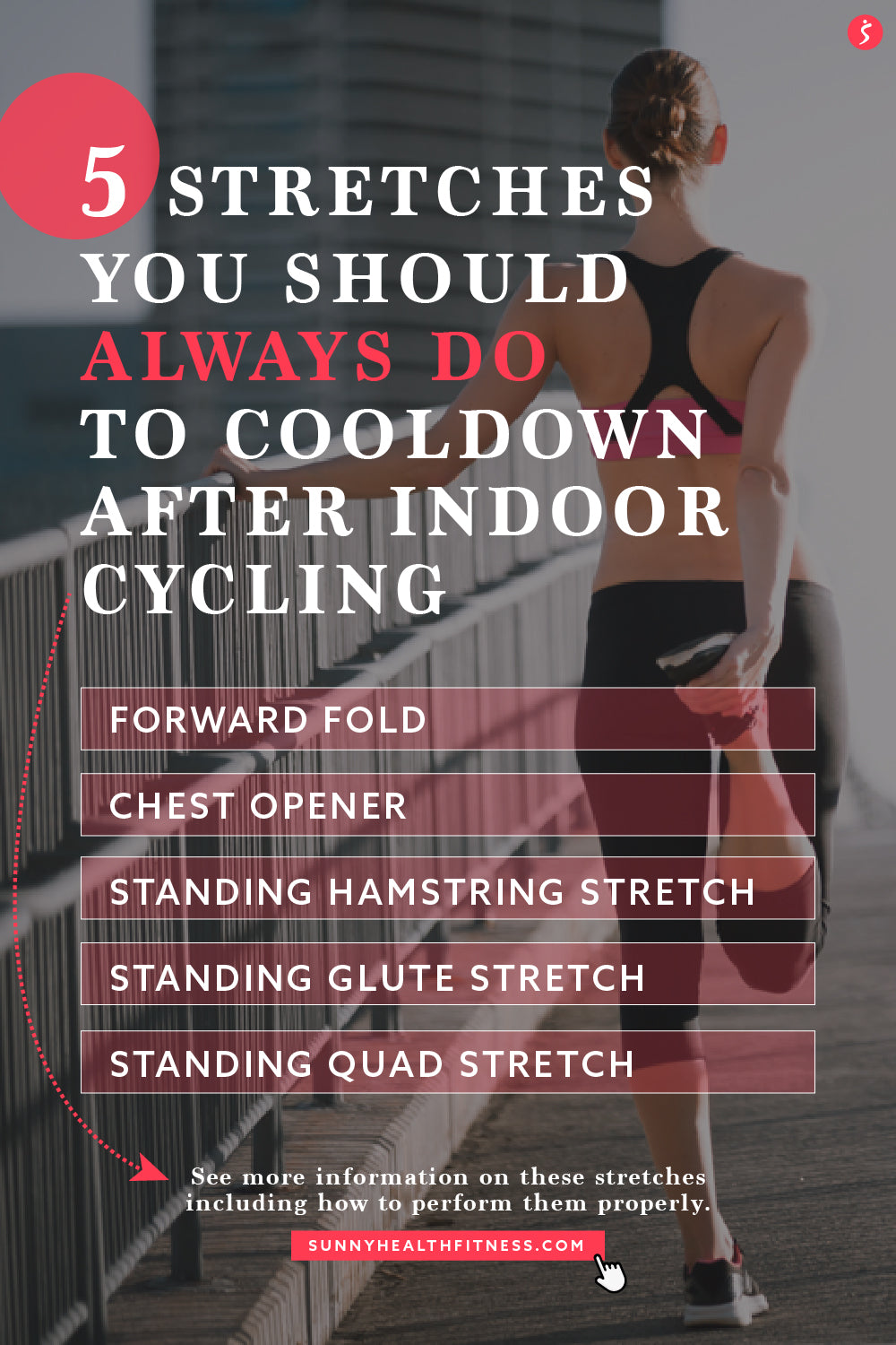5 Stretche to Cooldown After Indoor Cycling Infographic
