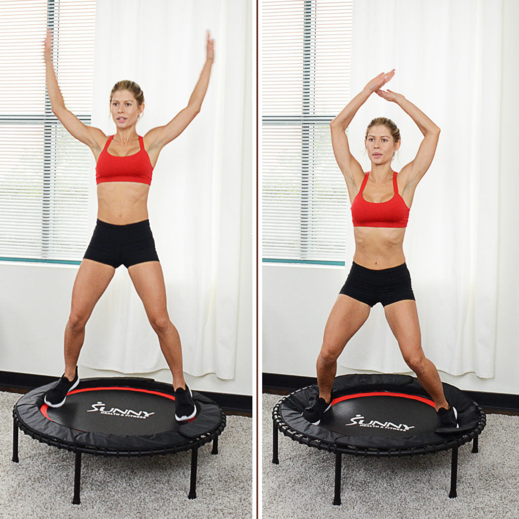 two image collage of woman doing jumping jacks on trampoline