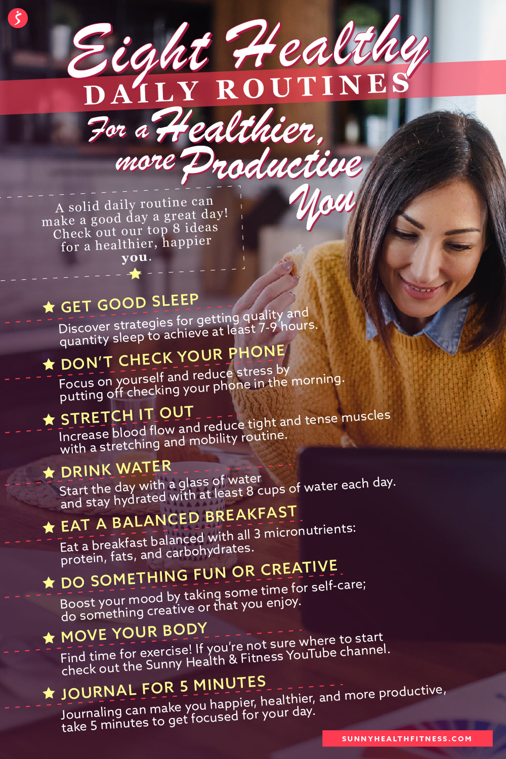 8 Healthy Daily Routines Infographic