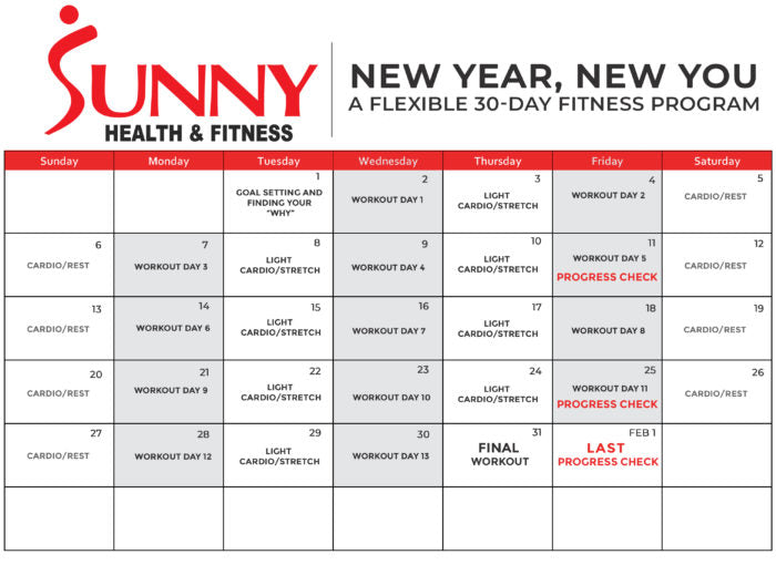30 day fitness program calendar