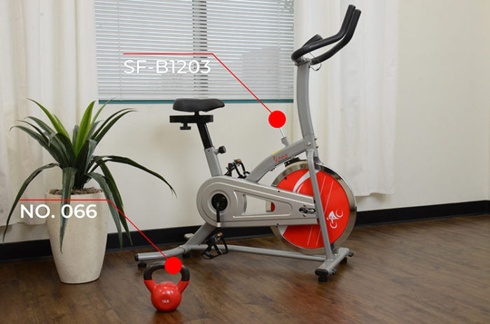 cycle bike kettlebell and potted plant in room
