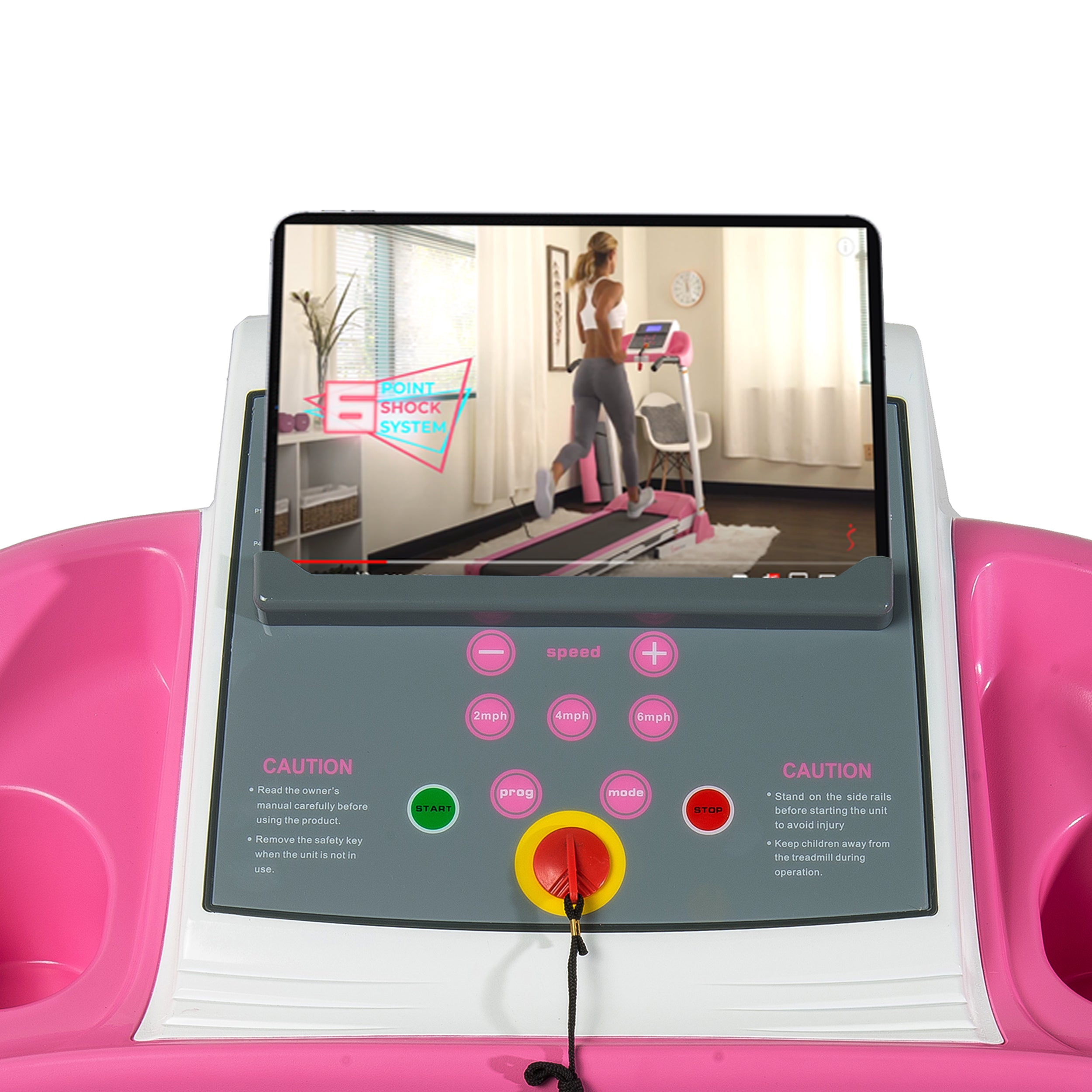 sunny-health-fitness-treadmills-pink-treadmill-manual-incline-LCD-display-P8700-device-holder