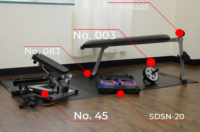stepper, case with dumbbells, ab roller wheel, bench on a mat in room