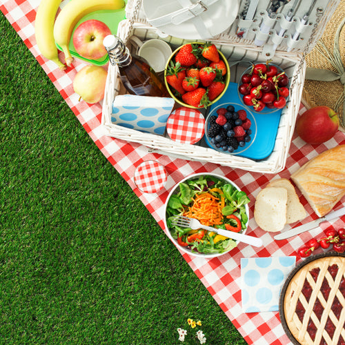 picnic food on a red cloth on grass