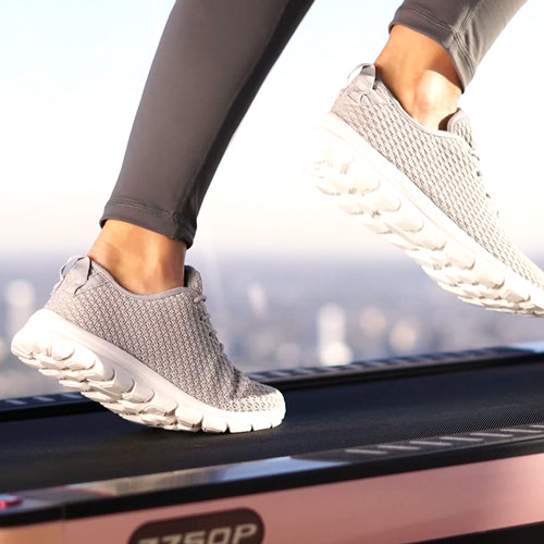a person is running on treadmill