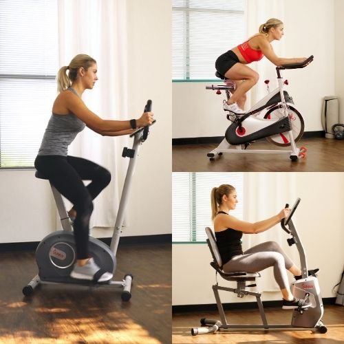 cycle bike, recumbent bike, and upright bike